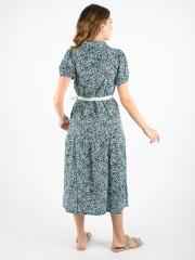 Animal printed λαδί κοντομάνικο midi AREZZO φόρεμα με πέτο γιακά, κουμπιά μπροστά, λάστιχο στο τελείωμα στο μανίκι και ήπιο βολάν Namaste