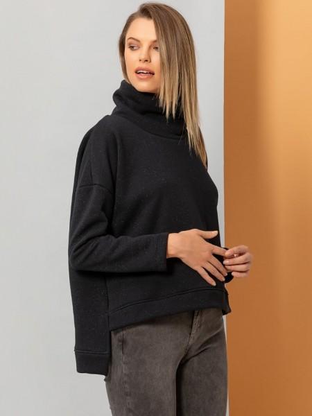 Μαύρη μακρυμάνικη μπλούζα φούτερ SILKY με διακριτικό λούρεξ, χαλαρή ζιβάγκο λαιμόκοψη και ελαφριά ασυμμετρία Namaste