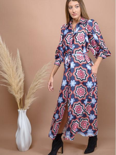 Floral printed μπλε μακρυμάνικο maxi shirt-look VALERIANA φόρεμα με σούρες στους ώμους, φαρδιά μανίκια, σατέν διακοσμητικά ρέλια και αποσπώμενη ζώνη Nema