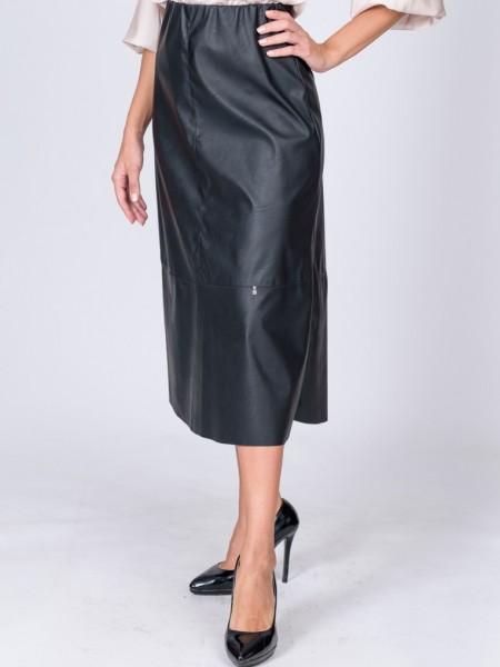 Μαύρη leather-look midi φούστα σε κλος γραμμή με διακοσμητικά γαζιά και λάστιχο εσωτερικά στην μέση We Coss