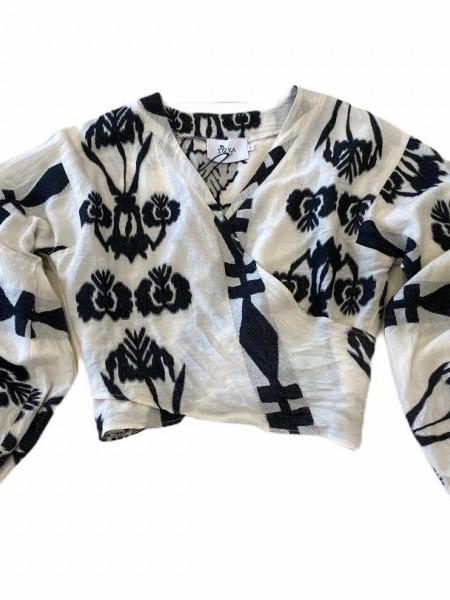 Εμπριμέ μαύρο  μακρυμάνικη κρουαζέ μπλούζα με λάστιχο στο τελείωμα στο μανίκι Zoya