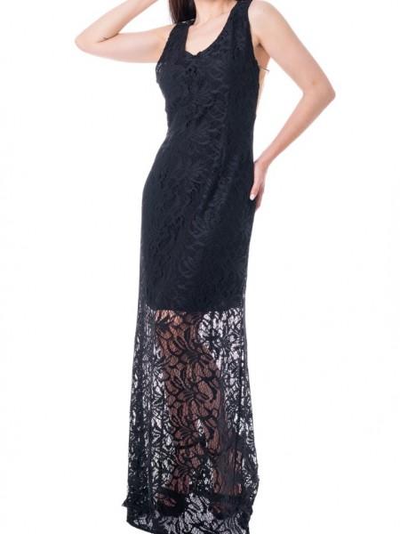 Μαύρο maxi αμάνικο φόρεμα με δαντέλα και διαφάνεια Access