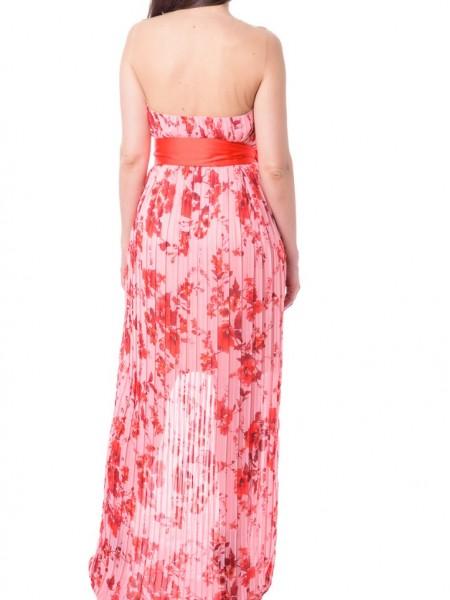 Ροζ floral printed maxi αμάνικο φόρεμα με διαφάνεια Access