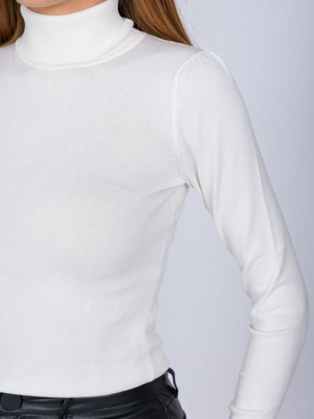 Λευκή μακρυμάνικη πλεκτή μπλούζα basic με ζιβάγκο λαιμόκοψη και μικρές σούρες στους ώμους Access