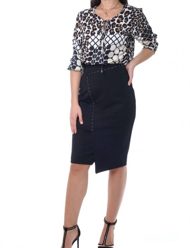 Μαύρη pencil midi φούστα με λοξά τρουκς Access