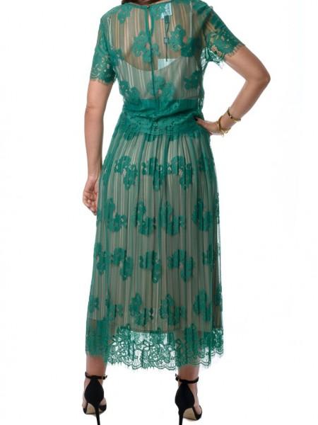 Πράσινη midi φούστα με κορδονέ δαντέλα Access
