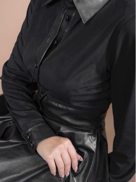 Μαύρο μακρυμάνικο midi φόρεμα με πέτο γιακά, συνδυασμό υφασμάτων, με σουέντ υφή στο πάνω μέρος, faux-leather βολάν σε επίπεδα και αντίστοιχα τελειώματα Access