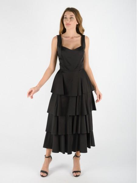 Μαύρο βαμβακοσατέν midi αμάνικο φόρεμα με μικρο V στην τετράγωνη λαιμόκοψη, βολάν με επίπεδα, λάστιχο στην πλάτη και κλείσιμο με φερμουάρ πίσω Access