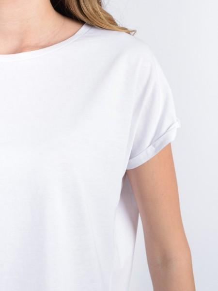 Λευκή κοντομάνικη βαμβακερή μπλούζα με στρογγυλή λαιμόκοψη, σε τετράγωνη γραμμή και ρεβέρ στο μανίκι Access