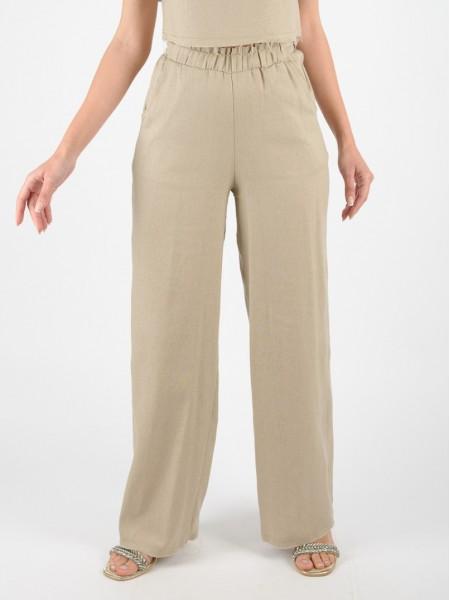 Μπεζ ψηλόμεση λινή παντελόνα με λάστιχο στην μέση, πλαϊνές τσέπες και μικρά ξέφτια στα τελειώματα Access