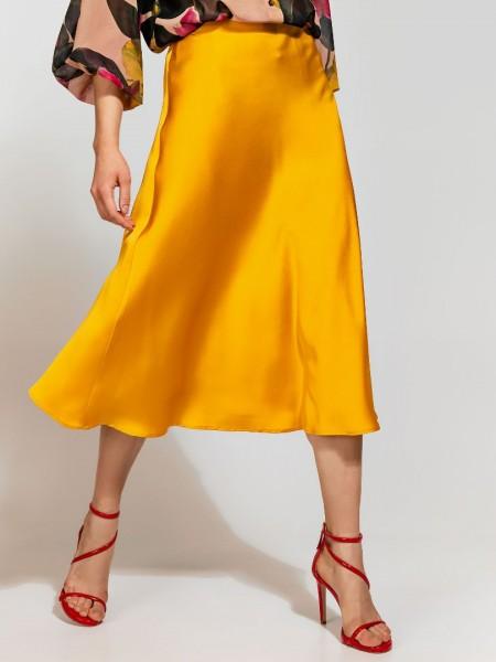 Μουσταρδί ματ σατέν midi λοξή φούστα με κρυφό φερμουάρ Access