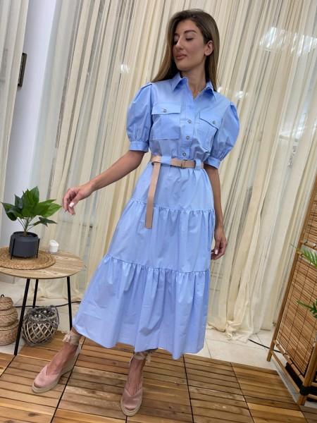 Σιελ κοντομάνικο midi φόρεμα με πέτο γιακά, κουμπάκια μπροστά, τσέπες στο μπούστο, βολάν κάτω και αποσπώμενη ζώνη Access