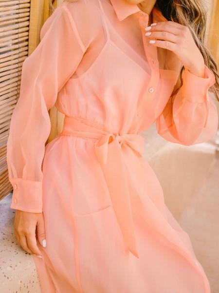 Ροδακινί μακρυμάνικο τούλινο chemisie φόρεμα με εσωτερική επένδυση και αποσπώμενη ζώνη Access