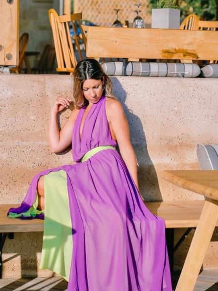 Μωβ αμάνικο maxi δίχρωμο φόρεμα με έξω πλάτη , κρουαζέ μπροστά ,άνοιγμα στην μπροστινή πλευρά και αποσπώμενη ζώνη ίδιου χρώματος με το εσωτερικό Access