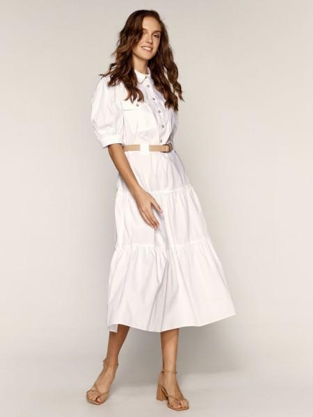 Λευκό κοντομάνικο midi φόρεμα με πέτο γιακά, κουμπάκια μπροστά, τσέπες στο μπούστο, βολάν κάτω και αποσπώμενη ζώνη Access