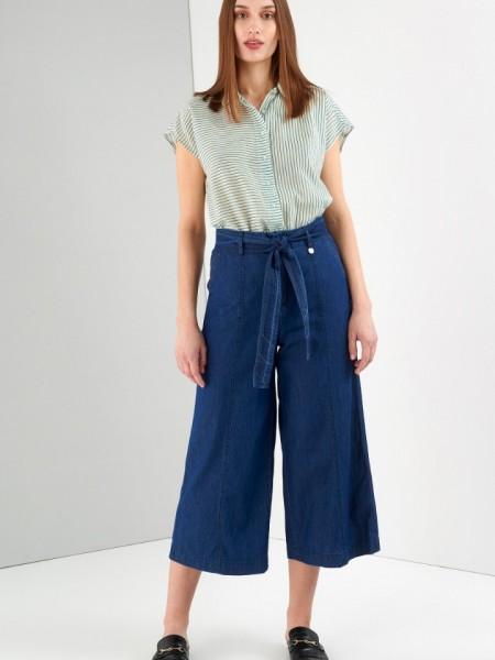 Blue jean tencel ψηλόμεση ζιπ-κυλότ με πλαϊνές τσέπες και αποσπώμενη υφασμάτινη ζώνη Ale