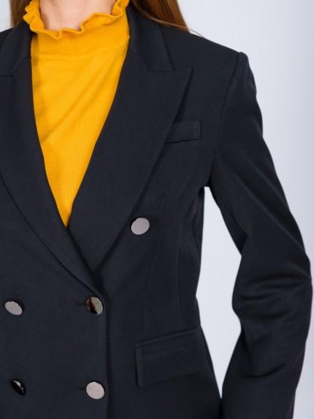 Μαύρο μεσάτο μακρύ σακάκι με πέτο γιακά, ελαφρώς σταυροκουμπωτό και με λεπτομέρειες χρυσά κουμπιά Angelo