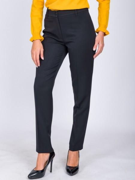 Μαύρο ψηλόμεσο παντελόνι σε ελαστικό ύφασμα, με κουμπί και φερμουάρ μπροστά και διακοσμητικά θηλάκια Angelo