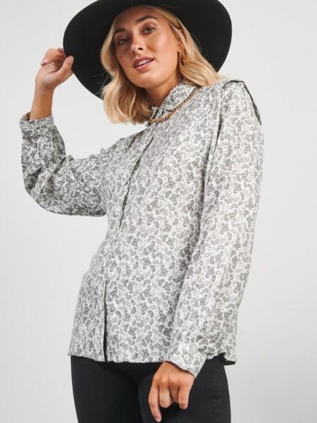 Εμπριμέ ασπρόμαυρο μακρυμάνικο πουκάμισο με λαχούρια, πέτο γιακά ιδιαίτερο σχέδιο στους ώμους Attrattivo
