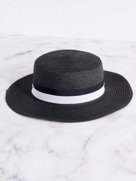Μαύρο ψάθινο καπέλο με διακοσμητική λευκή και μαύρη τρέσα Attrattivo
