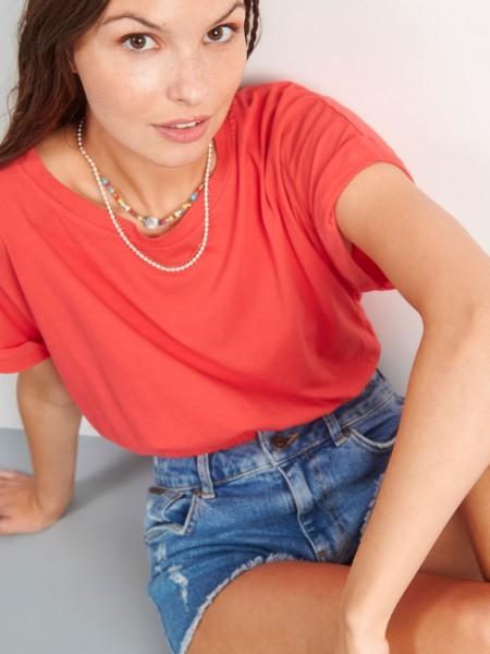 Κοραλλί κοντομάνικη βαμβακερή cropped μπλούζα με φαρδύ λάστιχο στο τελείωμα Attrattivo
