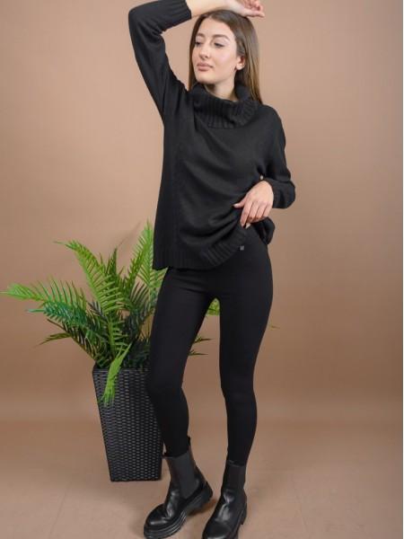 Μαύρο ψηλόμεσο ελαστικό κολάν σε χοντρό ύφασμα με μονόχρωμη ρίγα στην ύφανση και ελαστική μπάσκα στη μέση Attrattivo