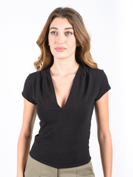 Μαύρη κοντομάνικη εφαρμοστή βαμβακερή μπλούζα με V-λαιμόκοψη και πιετάκια στους ώμους Attrattivo