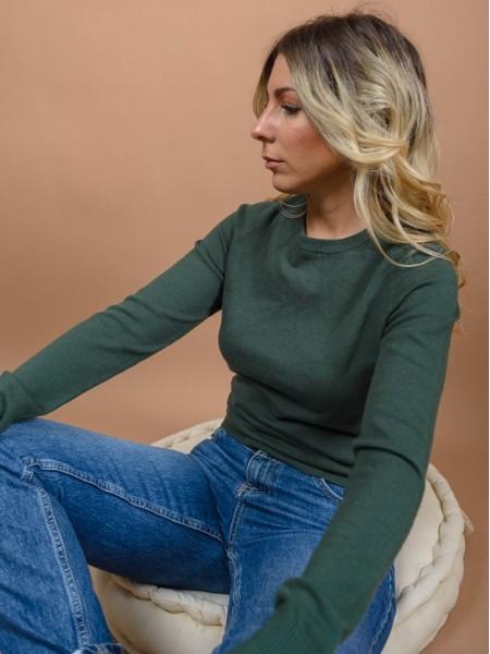 Λαδί μακρυμάνικη basic πλεκτή μπλούζα με στρογγυλή λαιμόκοψη Attrattivo