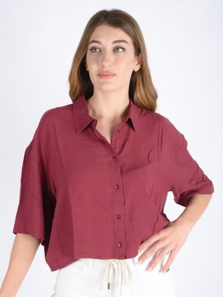 Μπορντώ κοντομάνικο πουκάμισο με φαρδιά μανίκια, πέτο γιακά, κουφόπιετα στην πλάτη Ale