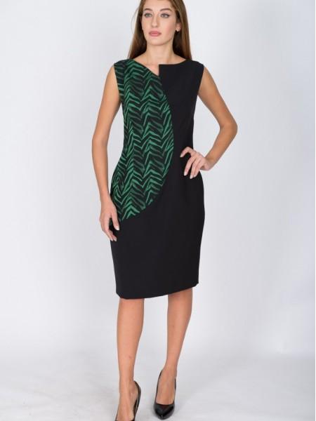 Δίχρωμο μαύρο αμάνικο κρεπ φόρεμα midi με συνδυασμό δυο υφασμάτων και ιδιαίτερο άνοιγμα στην στρογγυλή λαιμόκοψη Badoo