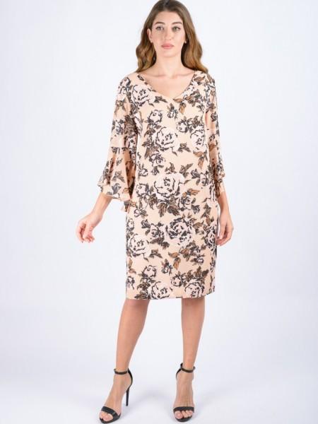 Εμπριμέ ροζ midi φόρεμα με V-λαιμόκοψη, σε ίσια γραμμή και 3/4 μανίκια με βολάν στο τελείωμα Badoo