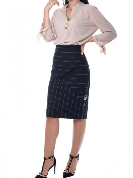 Ριγέ μαύρη pencil midi φούστα με δερματίνη φάσα στο πλάι Badoo