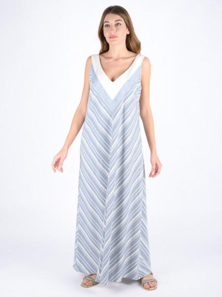 Ριγέ σιελ αμάνικο maxi φόρεμα με λαιμόκοψη σε κλος γραμμή, κλείσιμο με φερμουάρ στο πλάι και λευκές μονόχρωμες φάσες στο μπούστο και στην πλάτη Badoo