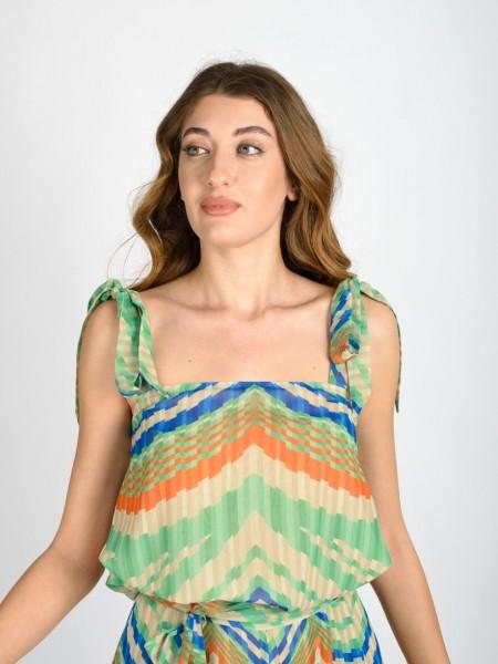 Ριγέ πράσινη-πορτοκαλί αμάνικη μπλούζα σε κλος γραμμή με τετράγωνη λαιμόκοψη και τιράντες δέσιμο Badoo