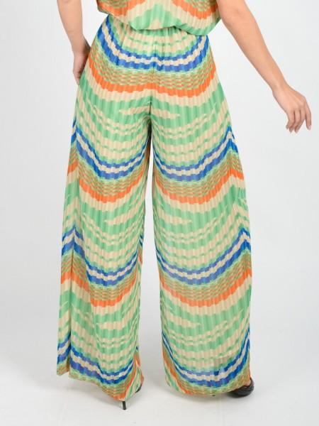 Ριγέ πράσινη-πορτοκαλί ψηλόμεση παντελόνα σε φαρδιά γραμμή με σταθερή μπάσκα μπροστά, λάστιχο στη μέση, μπροστινές πιέτες, κλείσιμο με φερμουάρ στο πλάι και αποσπώμενη υφασμάτινη ζώνη Badoo