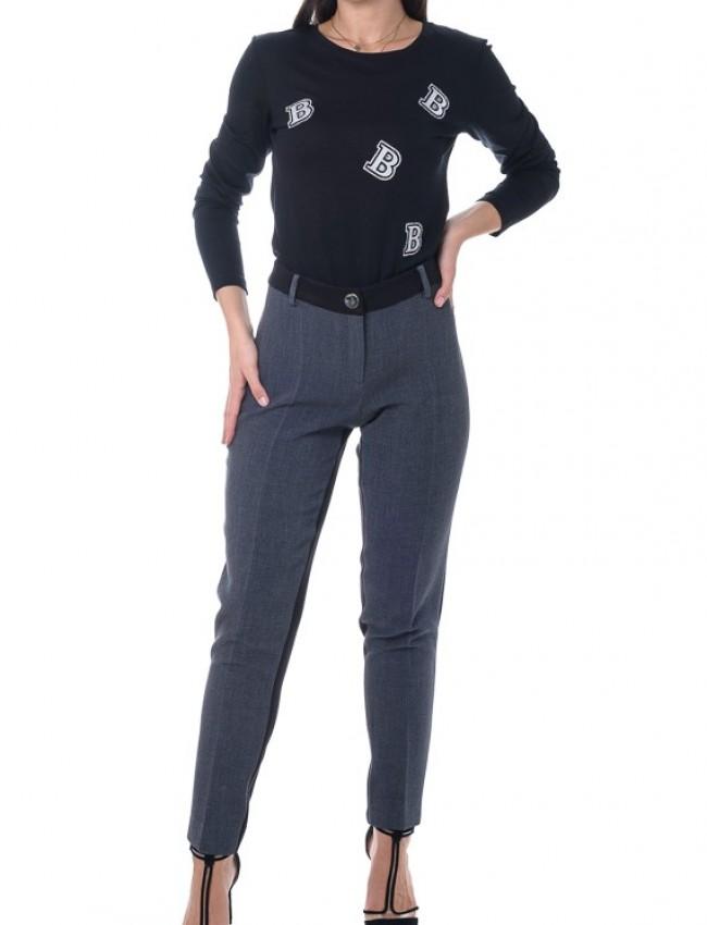 Μαύρη μακρυμάνικη μπλούζα με στρογγυλή λαιμόκοψη και κεντημένα γράμματα Badoo