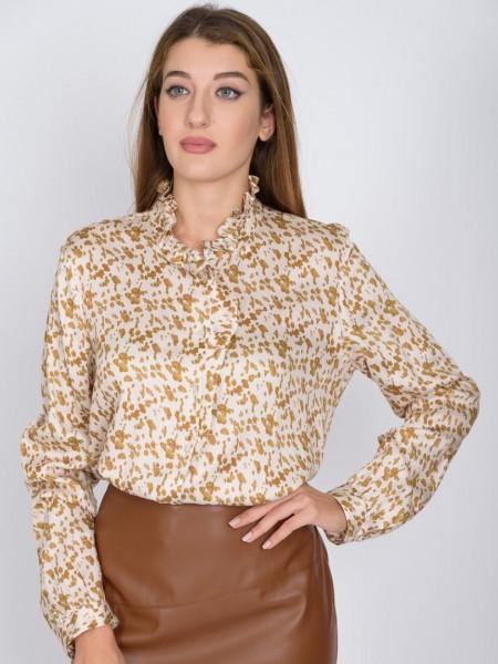 Animal print εκρού-χρυσό μακρυμάνικο ματ σατέν πουκάμισο με μικρό βολάν στο λαιμό και μπροστά,μικρές σούρες στις μανσέτες στα μανίκια και πιέτες στην πλάτη Bariloche