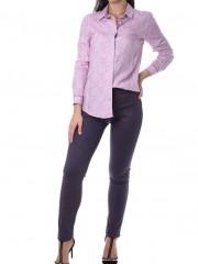 Εμπριμέ ροζ μακρυμάνικο μεσάτο πουκάμισο με πουά λεπτομέρειες Bariloche