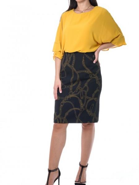 Μαύρη pencil midi φούστα με χρυσές αλυσίδες Bazianna
