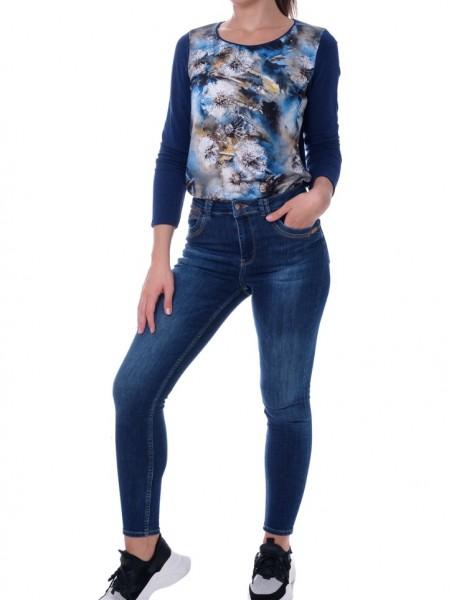 Εμπριμέ μπλε μακρυμάνικη μπλούζα σε ίσια γραμμή  Be Cool