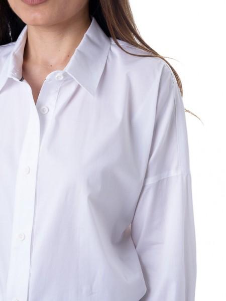Λευκή ασύμμετρη πουκαμίσα με μαύρο κορδόνι για μανίκι 3/4 Bill Cost