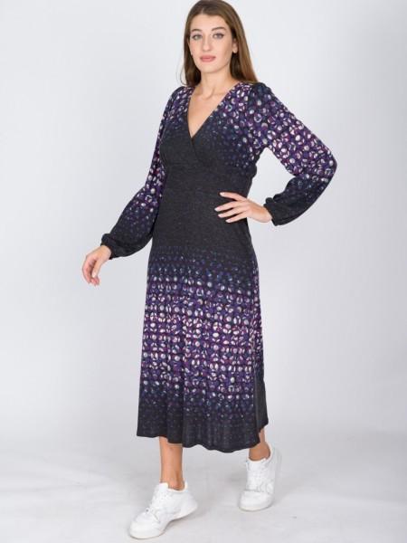 Εμπριμέ μωβ-γκρι midi φόρεμα απο ελαστικό ζέρσεϊ ύφασμα με κρουαζέ λαιμόκοψη,λάστιχο στο τελείωμα στο μανίκι Coelia