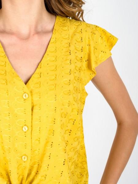 Μουσταρδί broderie κοντομάνικο πουκάμισο με κουμπιά μπροστά, βολάν μανίκι και δέσιμο με κόμπο στο τελείωμα Coelia