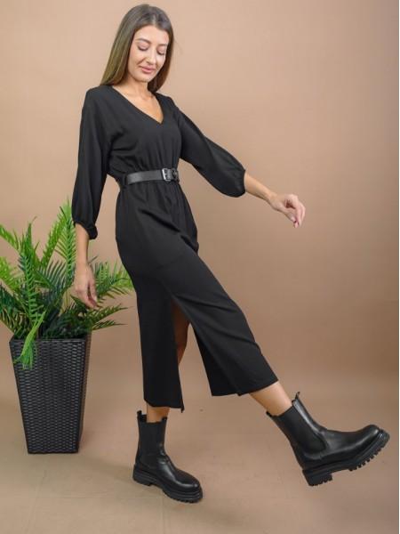 Μαύρο μακρυμάνικο midi φόρεμα με V-λαιμόκοψη, λάστιχο στη μέση, ανοίγματα στα πλαϊνά και αποσπώμενη ζώνη Enzzo