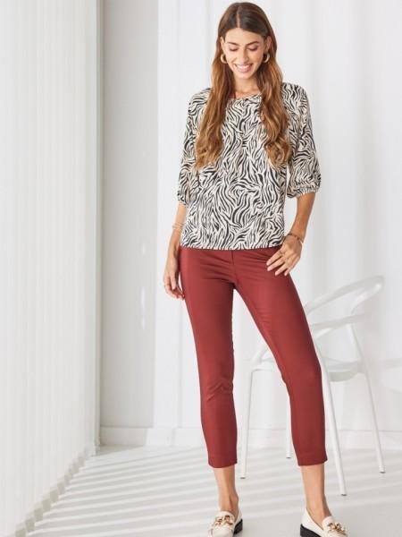 Σκουριά basic παντελόνι σε ίσια γραμμή, με ξύλινο κουμπί και πλαϊνές τσέπες Enzzo