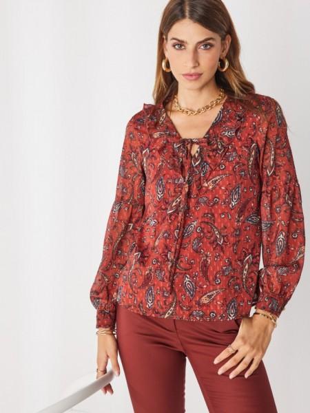 Εμπριμέ εκάι μακρυμάνικη μουσελίνα μπλούζα με βολάν και κορδόνι στην  V-λαιμόκοψη, ανάγλυφό πουά στην ύφανση και χρυσά κουμπιά στις μανσέτες Enzzo