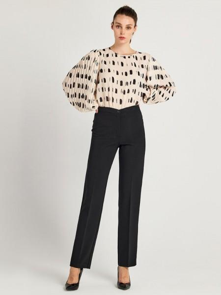 Μαύρο ψηλόμεσο ελαστικό παντελόνι σε ίσια γραμμή και κλείσιμο με φερμουάρ και κουμπί μπροστά Forel
