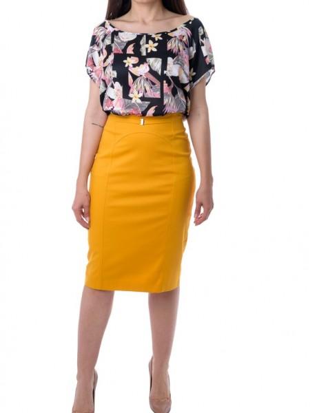 Μουσταρδί midi στενή φούστα με ενσωματωμένο διακοσμητικό ζωνάκι Forel
