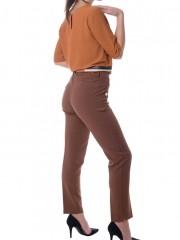 Κάμελ κρεπ ψηλόμεσο παντελόνι με τσάκιση και χρυσά κουμπιά λεπτομέρειες Forel