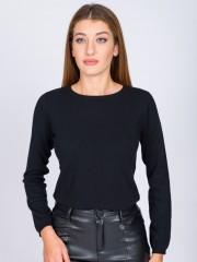 Μαύρη μακρυμάνικη πλεκτή μπλούζα basic με στρογγυλή  λαιμόκοψη και ριπ τελειώματα στο λαιμό και στα μανίκια Forel